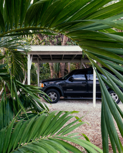 Truck inside carport, seen through palm leaves on the island of New Providence