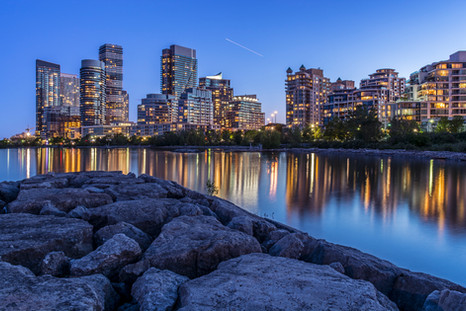 Toronto west end reflection at blue hour