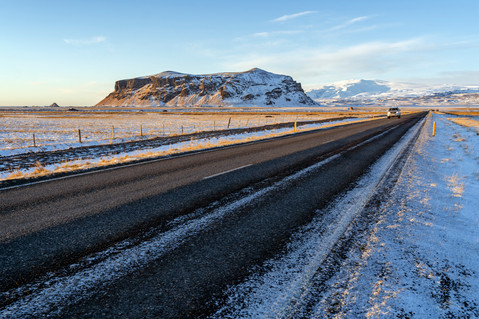 Scenic winter view of the Ring Road and mountain in Iceland