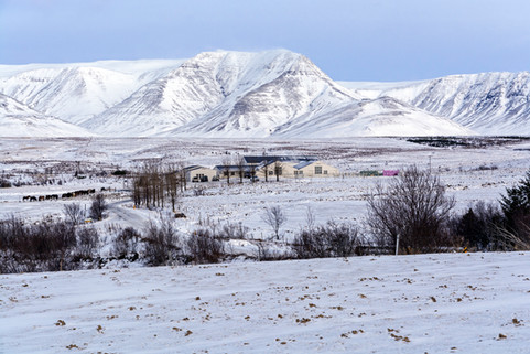 Farm at the foot of the mountain, January
