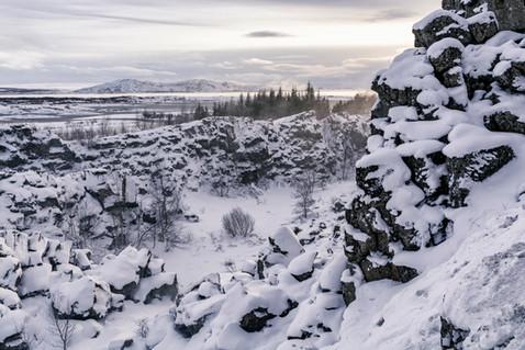 Mid-Atlantic rift valley at Thingvellir, January