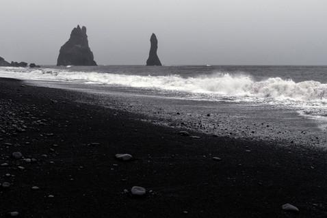 Reynisfjara beach in stormy weather, April