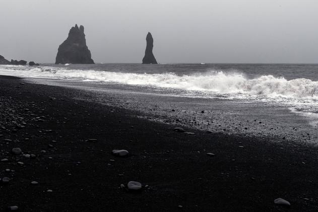 Rock formations at Reynisfjara black sand beach
