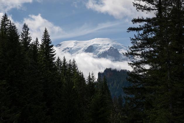 Snowy peak of Mount Rainier
