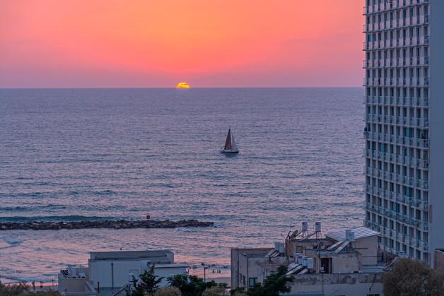 Sun setting into the Mediterranean Sea
