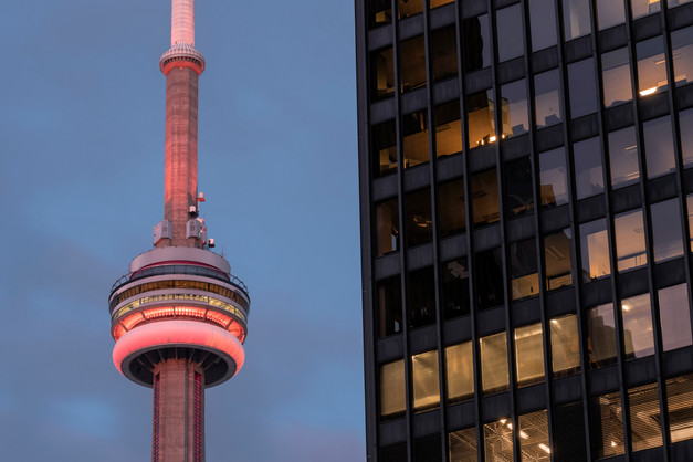 CN Tower in orange, from the Financial District
