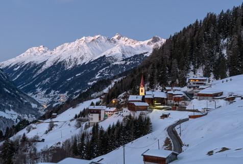 Alpine village at sunrise