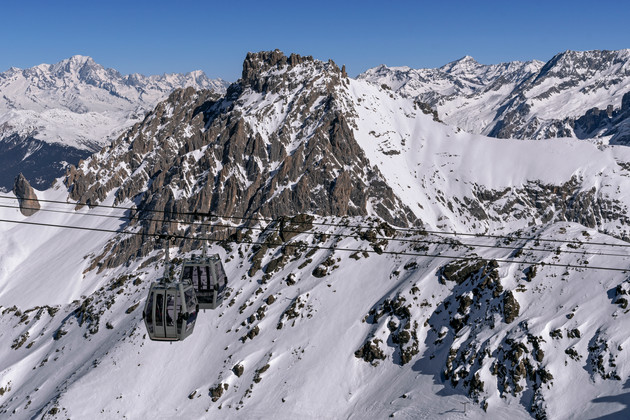 View from the peak of Mont Vallon in Meribel at 3,000 metres (9,800 feet) above sea level