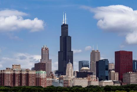 Chicago skyline in the summer