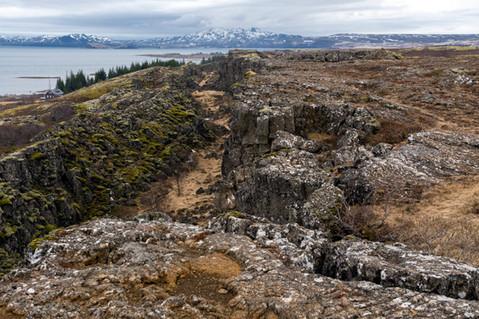 Mid-Atlantic rift valley in Thingvellir National Park (Iceland)