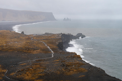 Waves on the southern coast at Dyrhólaey in Iceland