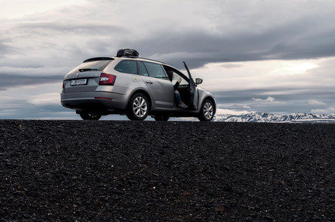 Parked on the side of the Ring Road in Iceland