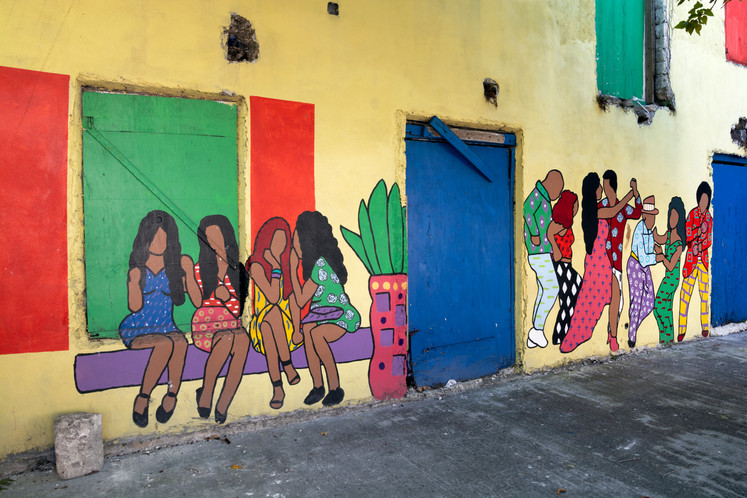 Wall mural on a quiet city street of downtown Nassau, island of New Providence