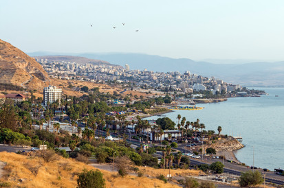 City coast of the Sea of Galilee