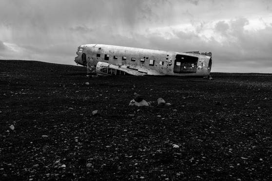 Black sand beach plane wreck, Iceland South Region