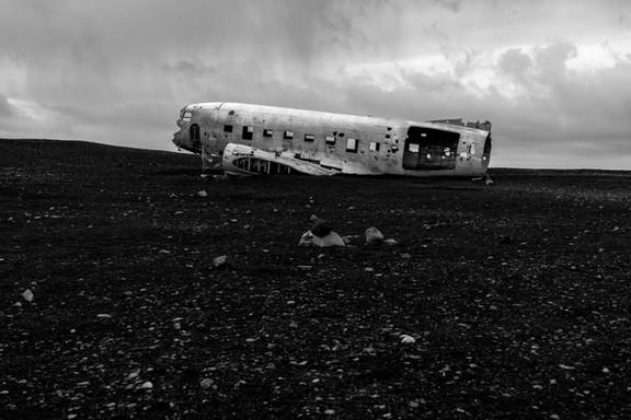 Black sand beach plane wreck, Iceland South Region