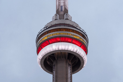 CN Tower in the Canadian colours