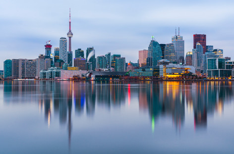 Toronto morning skyline reflection