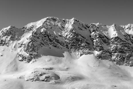Snow covered mountain ridge, French Alps