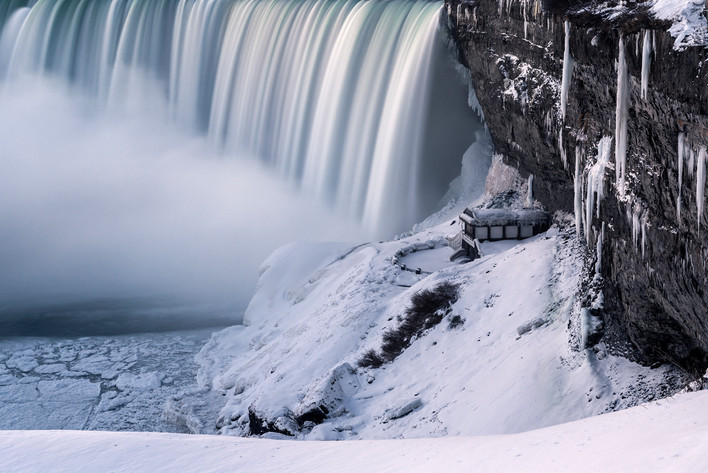 Niagara Falls, frozen all around, on a cold and crisp winter morning