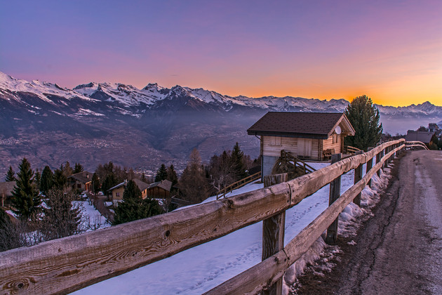 First colours of the morning as seen from an alpine village road, Savoie province