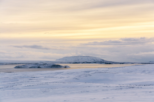 Snow fields and a frozen lake on a winter morning in the Southern Region
