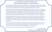 Tribute from the Board of Governors
