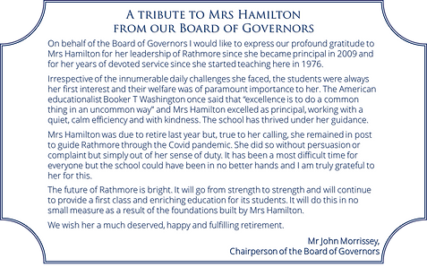 Tribute to Mrs Hamilton