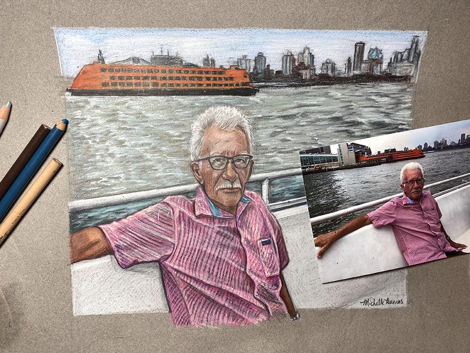 Color pencil portrait on toned paper
