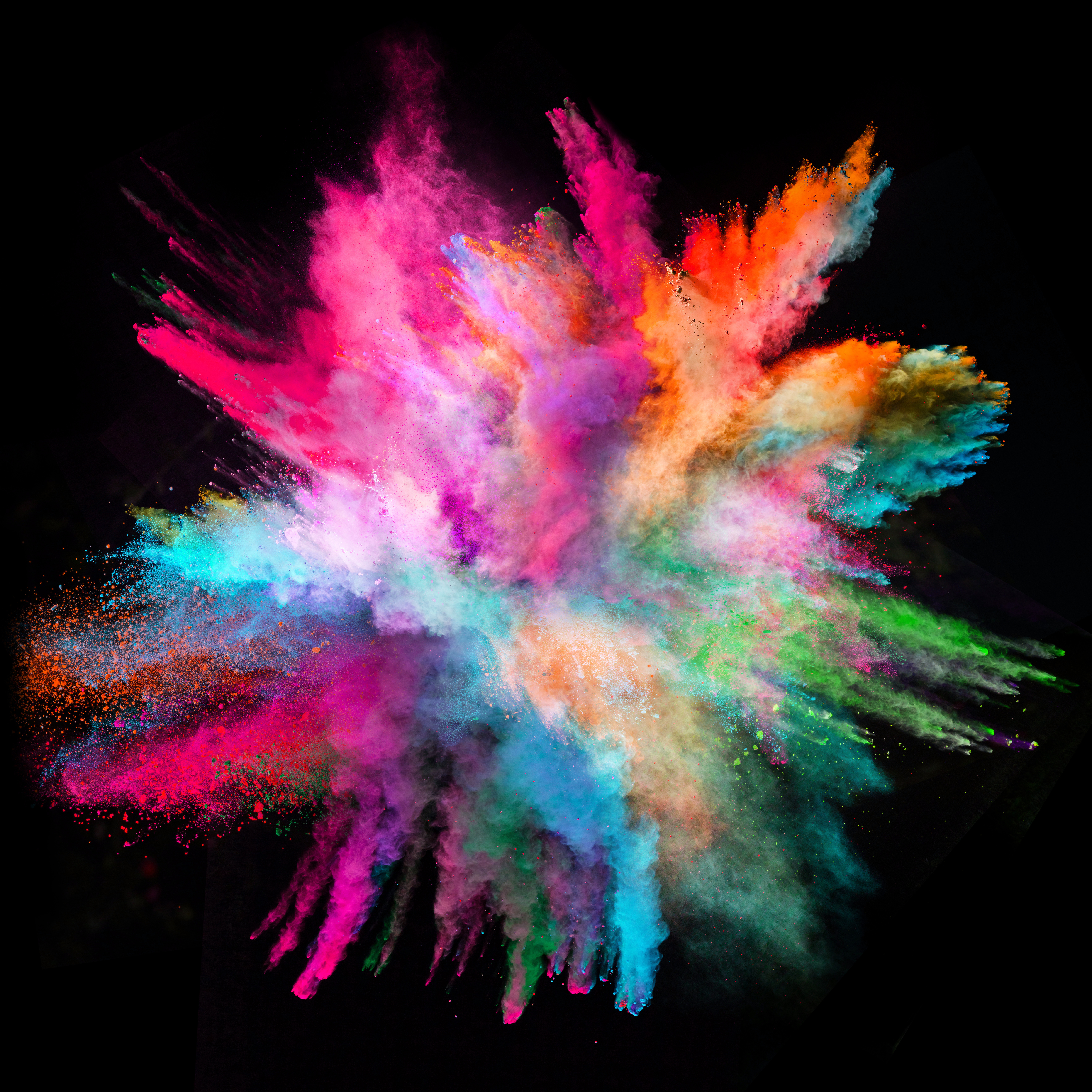 Colored-powder-explosion-on-black-backgr