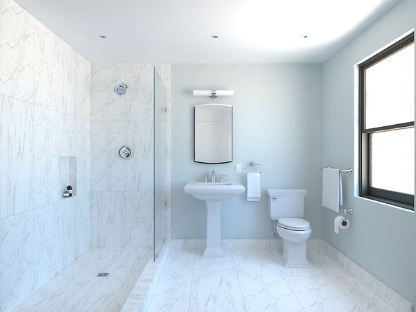 Image of a full ensemble with a shower in the Classic Bathroom Renovation Kit.