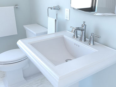 Image for bathroom faucet, pedestal sink, towel ring, and toilet in the Classic Powder Room Renovation Kit.