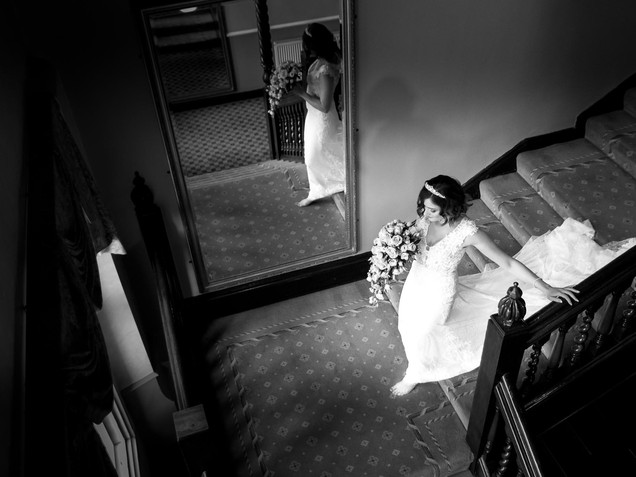 Dunston hall wedding in black and white