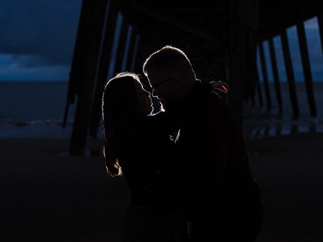 Lowestoft beach blue hour engagement sho