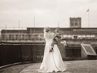 Norwich castle wedding bride and groom
