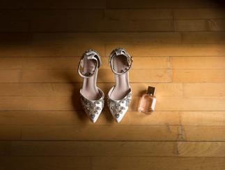 Dunston hall wedding detail shot of shoe