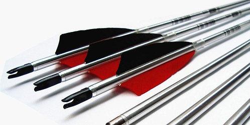 "6 Pcs - 31""/Spine 500 Silver Shaft Aluminium Arrow with Fix Head Tips"