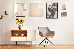 grey-armchair-next-to-cupboard-with-sunf