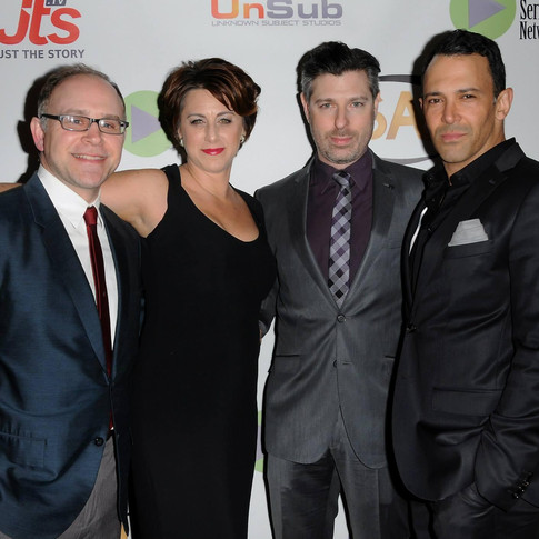 """At the 6th Annual Indie Series Awards in Los Angeles, CA with """"He's With Me"""" co-stars John Cramer, Darcie Siciliano and Director Sebastian La Cause"""