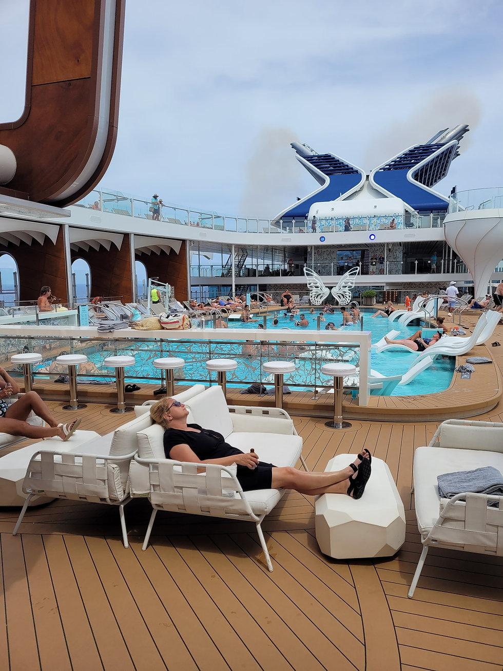 Celebrity Edge Resort Deck & Scott Stein, Cruise Agent