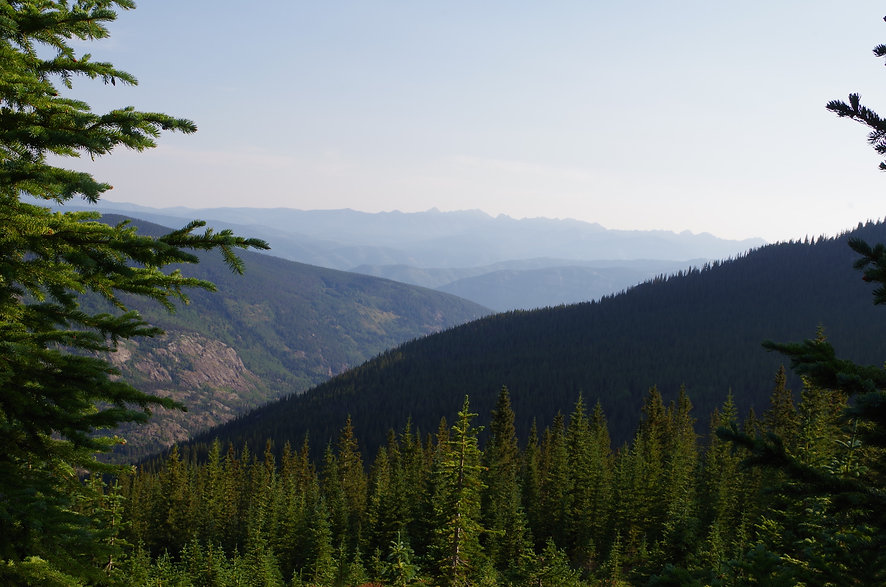 image of mountains with blue sky in the background and trees in the foreground