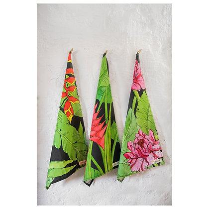 Tropical Floral Tea Towel Set of 3