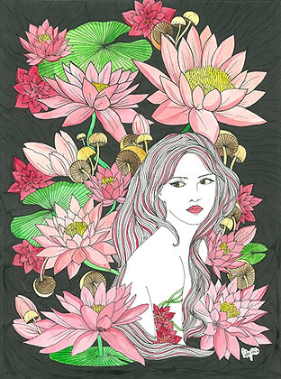 Waterlilly Girl (Size: A3)