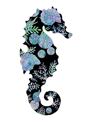 Black Fossil Seahorse