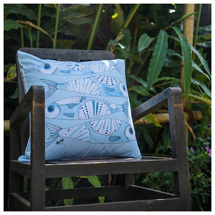Sky Blue Fish Cushion Cover