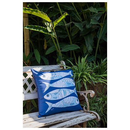 Azulejos Blue Fish Cushion Cover