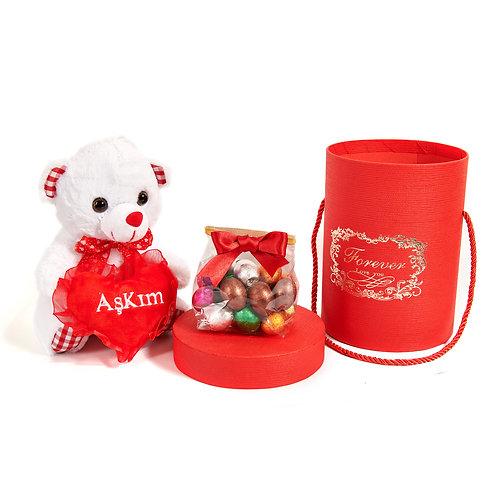 Sütlü Çikolata - Sonsuza kadar sevgi - (Forever Love You Kutu & Peluş Ayıcık)