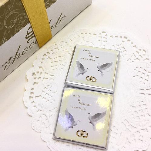 Güvercinler - 60 adet Yazılı Madlen Çikolata - Söz ve Nişan