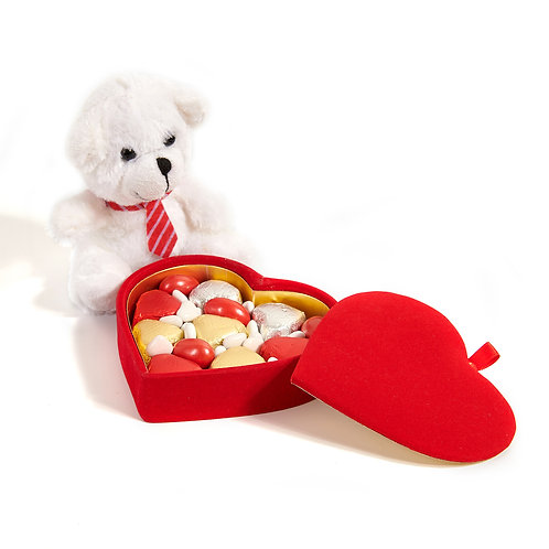Heart Chocolate - Heart Box & Plush Teddy Bear