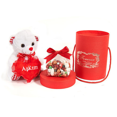 Mixed Dragee - Forever love - (Forever Love You Box & Plush Teddy Bear)
